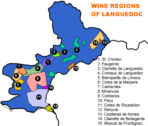 Languedoc wine region map