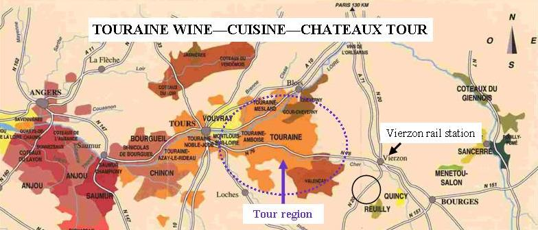 Touraine wine tour map