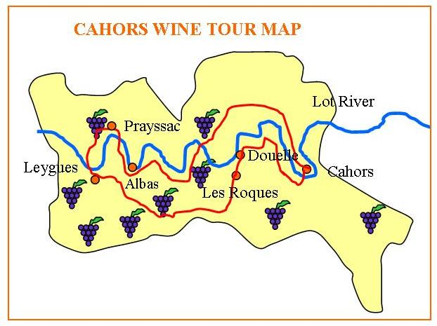Cahors French Wine Tours Map