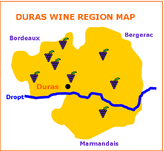 Duras Wine Tour France Region Map