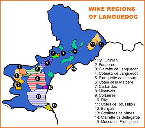 Wine Tours In France Languedoc Region Map
