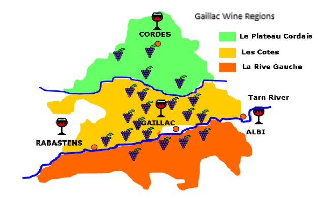 France Wine Tours Gaillac Region Map